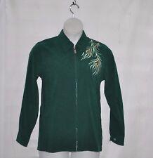 Bob Mackie Phoenix Bird Embroidered Moleskin Jacket Size S Green