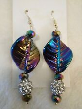 IRIDESCENT (mostly blue/purple)  CERAMIC BEAD DANGLE/DROP EARRINGS FOR HER