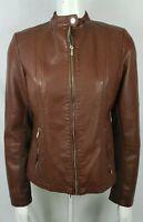 Black Rivet vegan faux leather moto weathered brown biker jacket womens sz M