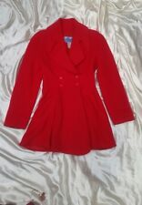 VINTAGE 1980'S THIERRY MUGLER RED 3/4 WOOL COAT 38  S/M