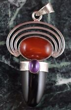Genuine Black Onyx and Carnelian Sterling Silver Pendant