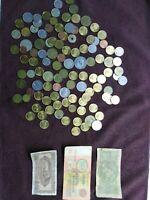 111 pcs Old Coins + 3pcs Vintage Paper money Collectible Rare European Money