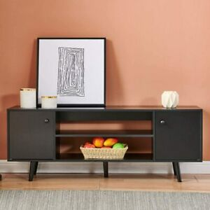TV Stand Console Table w/ Cabinets Shelf Spacious Storage Living Room Black New