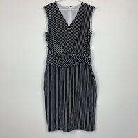 Trenery Womens Back/White Striped Sleeveless Lined Dress Size M