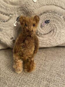 Antique? Steiff? Worn Mohair Teddy Bear Miniature 5-Jointed Dark Chocolate Brown