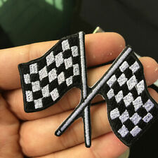 Check Flag Black White Cross Embroidered Patch Iron on Sewing Applique DIY