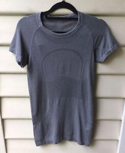 LULULEMON Grey Marle Top Run Swiftly Est CA 6 AU 10 Short Sleeve Mid Grey As New