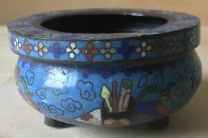 small antique CHINESE CLOISONNE VASES BRUSH POT 3 footed CENSOR signed FLOWER