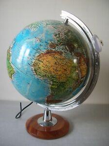 Ancien gros globe terrestre map monde Tecnodidattica lampe loupe base bois 45 cm