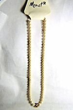 15 INCH PEARL NEACKLACE  WITH GOLD EXTENDER AND GOLD CRYSTAL BALL BY MONET 2