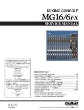 Yamaha MG16-6FX Mixing Console Service Manual and Repair Guide