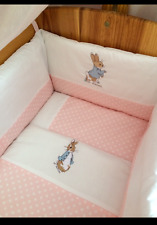 Peter Rabbit Nursery Package. Cot set, nappy stacker,cushion,Fleece Blanket pink