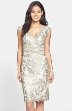 Tadashi Shoji Embellished Metallic Silver Lace Sheath Dress  14