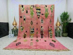 "Moroccan Boujaad Handmade Vintage Rug 6'5""x10'3"" Berber Abstract Pink Wool Rug"