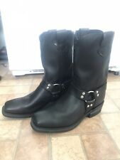 Men's Double H Motorcycle Engineer Black Leather Square Toe USA made Boots 11 D