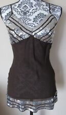 NWT Women's Central Park West Brown Silk Cami Blouse W/ Silver Sequins, Size S