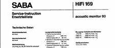 Saba Service Manual für acoustic monitor 80
