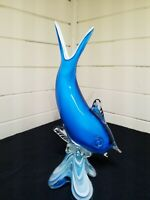 VINTAGE LARGE MUNARO??? GLASS FISH (DOLPHIN) BRIGHT BLUE COLOR
