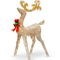 "48"" Crystal Splendor Standing Deer With Bow LED Lighted Sculpture Christmas Deco"