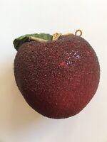 "Shimmery Red Apple Christmas Ornament 11"" Diameter, Lightweight"
