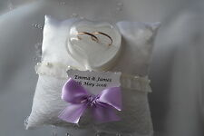 4D personalised wedding ring cushions wedding ring pillow 4d purple lace