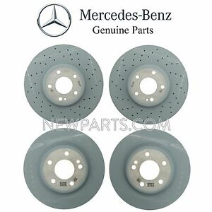 For MB W205 C300 C400 Pair Set of 2 Front & Rear Vented Brake Discs Rotors OES