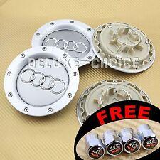 4 Silver Car Alloy Wheel Center Hub Cap Emblem Badge Logo 146mm AUDI 8D0601165K