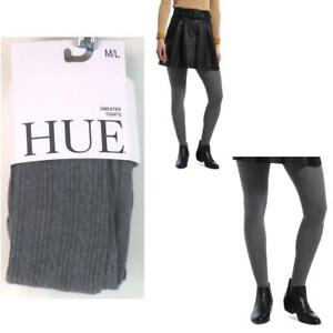 Womens Hue Cable Sweater Tights Charcoal Heather Size M L New