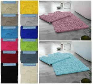 Luxury 2pc Loop Design Bath Mat Sets Non Slip Water Absorbent Bathroom Rugs Mat