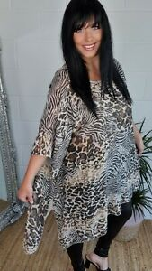 Tunic Long Animal Print Oversized Top Lightweight Stretchy 16 18 20 22 24 NEW