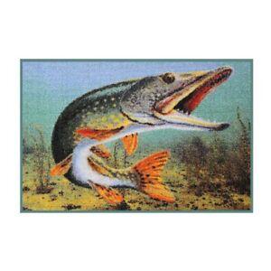 FUSSMATTE Türmatte Hobby Fisch, Wild, Geschenk Lustig Wohnung Haus 60x40 cm