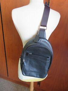 Coach Mens F54770 Charles Messenger Sling Pack Bag in Black Leather