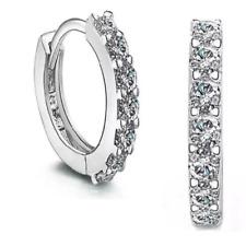 Womens Hinged Huggie Earrings Crystal Small Sleeper Hoop Round Sterling Silver