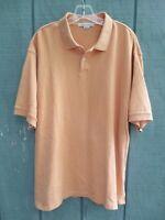 Geoffrey Beene Men's Size L 100% Cotton Solid Orange Short Sleeve Polo Shirt
