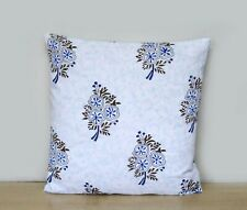 "Natural Floral Print Indian Cotton Handmade Set-2 16"" Square Sofa Cushion Cover"