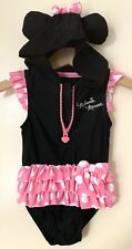 Disney Minnie Mouse Infant 12 Month Girl One Piece Hooded Swimsuit w/Ears