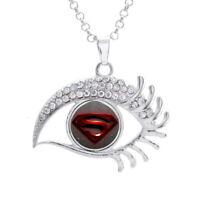 16mm SuperHero Superman Stamp Glass Noosa Snap Crystal Evil Eyes Shaped Necklace