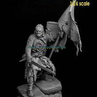Unassambled 1/24 75mm Ancient Warrior With Big Base Resin Figure Miniature model