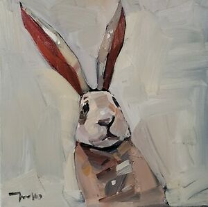 JOSE TRUJILLO Oil Painting IMPRESSIONISM ORIGINAL BUNNY RABBIT PORTRAIT SIGNED