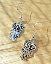 Owl Tibetan Silver Dangle Earrings with Hook Fastening NEW