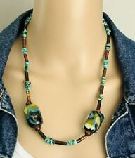 Turquoise Chip Tube Lampwork Glass Bead Necklace