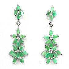 Natural GEM Marquise 5x2.5mm Green Emerald 925 Sterling Silver DANGLE Earrings