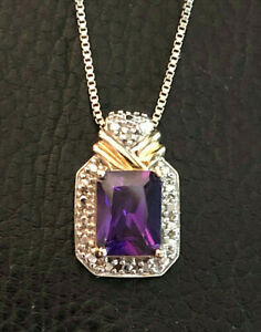 """Gold Sterling Silver Necklace Amethyst Purple +Diamond Acc 18.25"""" 4.8g 925 #1103"""