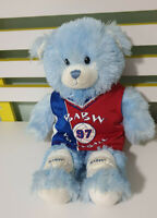 BUILD A BEAR BLUE TEDDY WITH BLUE EYES AND VOLLEYBALL CLOTHES AND KNEE PADS!