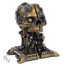 Crâne Crâne Steampunk Robot Mech Hybride Crâne Serre-Livres Bibliothèque Gothique 18.5 cm