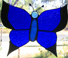 BLACK & BLUE ULYSSUS STAINED GLASS BUTTERFLY suncatcher CUSTOM MADE LEADLIGHTS