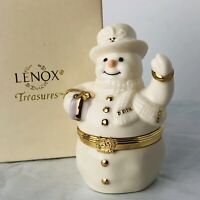 Lenox Treasures The Spirit Of The Season Hinged Trinket Box 1999 Snowman w Charm