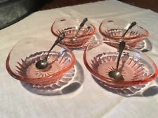 FOUR VINTAGE PINK DEPRESSION GLASS OPEN SALTS WITH SPOONS