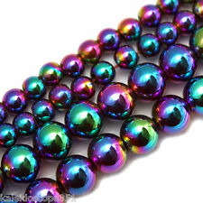 MAGNETIC HEMATITE BEADS RAINBOW COLORS 4MM ROUNDS BEAD STRANDS HR5