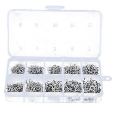 500pcs Fish Jig Hooks with Hole Fishing Tackle Box 10 Sizes Carbon Steel D1J9